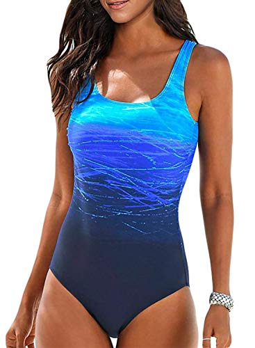 Aleumdr Women's One Piece Swimsuits 2019 Criss Cross Back Tummy Control Bathing Suits Racing Training Sports Athletic Monokini Blue X-Large 14 16
