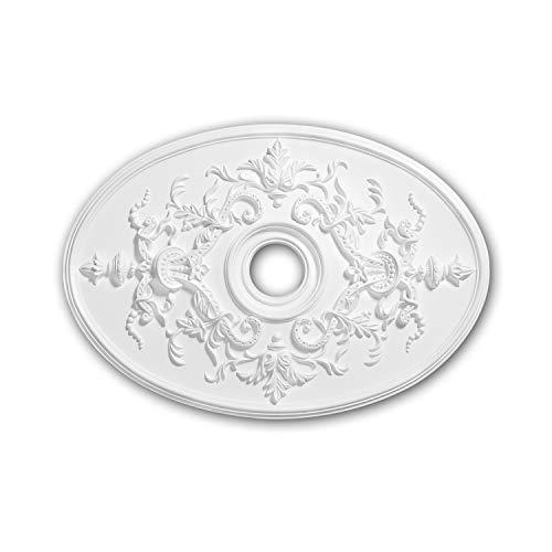 Rosetón 156041 Profhome Elemento decorativo Elemento para techo estilo Neoimperio blanco 78,5 x 54,4 cm