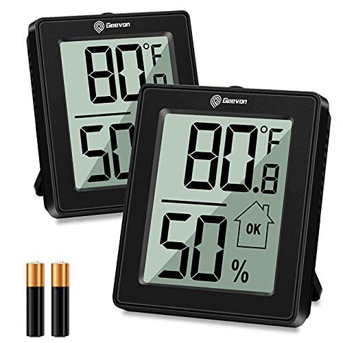 Geevon Humidity Gauge Room Thermometer Hygrometer Indoor with Battery,Digital Humidity Meter and Temperature Monitor for Home, Office, Plant,Greenhouse, Basement,Humidor, Black(2 Pack)