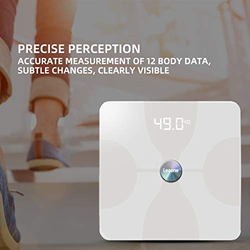Leaone Body Fat Scale 30x30cm, Digital Backlit White LED, Smart Bluetooth Digital BMI Weight Scale, Body Composition Analyzer Health Monitor with 6mm Tempered Glass with Smartphone App, 400lbs, White