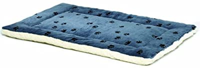 "Reversible Paw Print Pet Bed in Blue / White, Dog Bed Measures 17L x 11W x 1.5H for ""Tiny"" Dog Breed, Machine Wash"