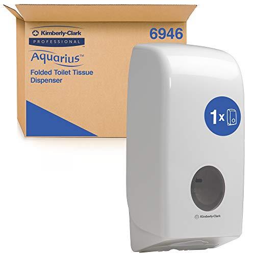 Distributeur de papier toilette plié Aquarius 6946 - 1 x distributeur blanc de papier toilette feuille à feuille