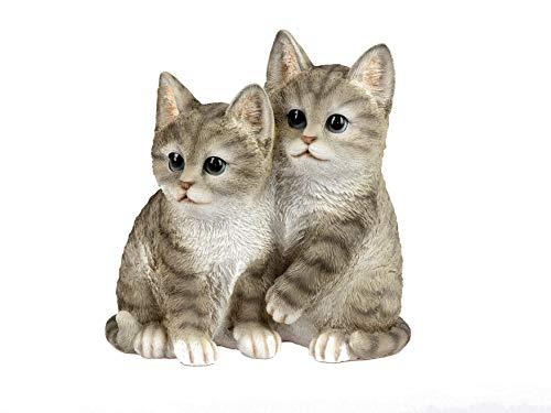 Formano Katzenfiguren niedliche Deko Figuren Katzenpaar naturfarben bemalt Handarbeit (19x19 cm)
