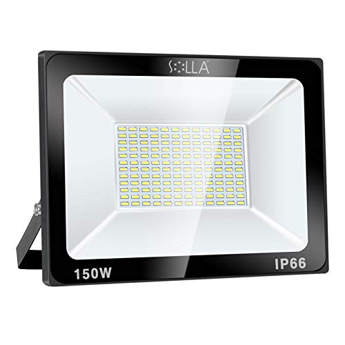 SOLLA 150W LED Flood Light, IP66 Waterproof, 12000lm, 800W Equivalent, Super Bright Outdoor Security Lights, 6000K Daylight White, Outdoor Floodlight for Garage, Garden, Lawn and Yard