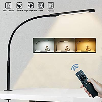 Swing Arm Lamp with Remote Control, Eye-Care Flexible Gooseneck Desk Lamp, Adjustable Brightness & Color Temperatures, Modern LED Clamp Light with Memory & Timer Function, 12W, Black