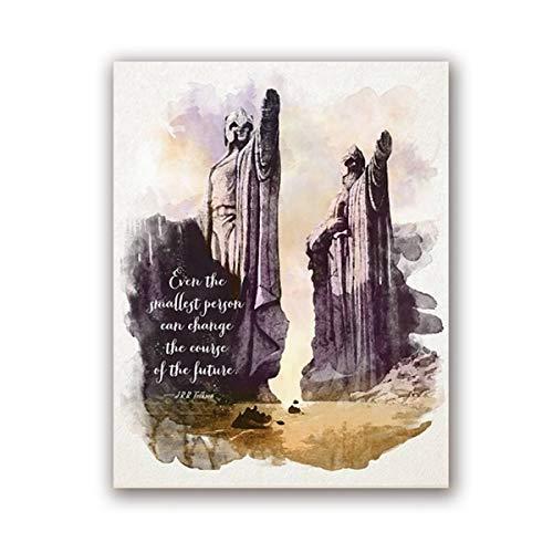 Canvas schilderij decoratie, Muurcanvas Foto Rings Kunst Met Citaten Print Aquarel Tolkien Classic Movie Poster Schilderij Living Room Decor Van Het Huis