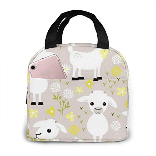 Ches Baby Goats Insulated Lunch Bag Reusable Lunch Box Lunch Cooler Tote Bag for Women Men Adults Work Picnic