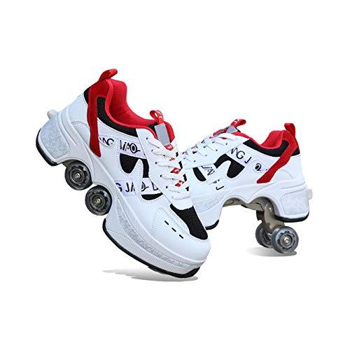 ZXSZX 2-in-1 Mehrzweck-Rollschuhe 4-Rad-verstellbare Rollschuhe Skateschuhe Für Frauen Männer, Radschuhe Rollschuhschuhe, Für Unisex-Anfänger Geschenk,Red-36