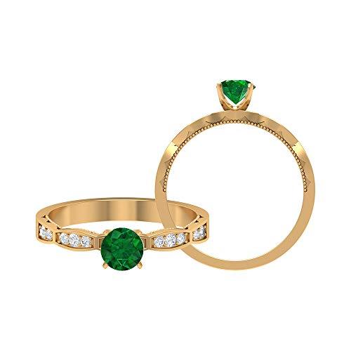 Anillo solitario de esmeralda de 6 mm, anillo de diamante HI-SI, oro milgrain (calidad AAA), 14K Oro amarillo, Size:EU 47