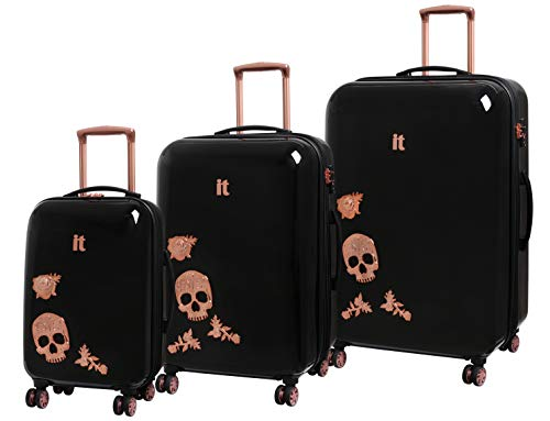 IT Luggage Candy Skull Set of 3 Expandable Hardshell Four Dual Wheel Spinner Suitcase Black