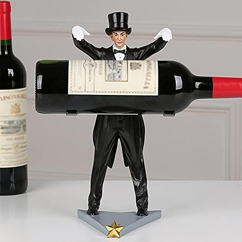 SMeijiaer Estante De Vino Magician,Estante De Exhibición Creativo para Botellas,Mostrador De Material De Resina para Soporte De Vino Artístico, Sala De Estar En Casa,(sin Botella De Vino)