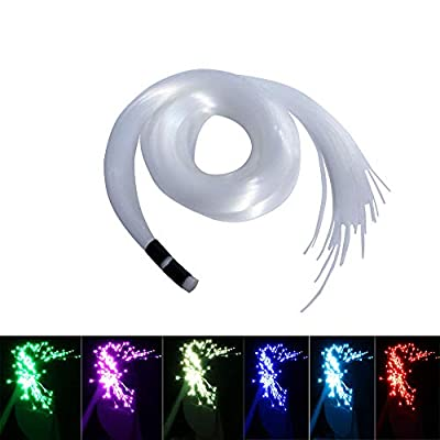 AKEPO Fiber Optic Light Cable End Glow PMMA Plastic Cable 100pcs ?0.03in(0.75mm) 9.8ft/3m for LED Star Ceiling Sky Light Kit and Fiber Optical Lighting Decoration (Without Light Source)