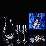 Kreative Kristallglastopf Weinglas Weinkaraffe Set Mit Diamant Hochzeitsgeschenk Schriftzug Rotweinkaraffe, Weingeschenke, Zubehör,A - 3