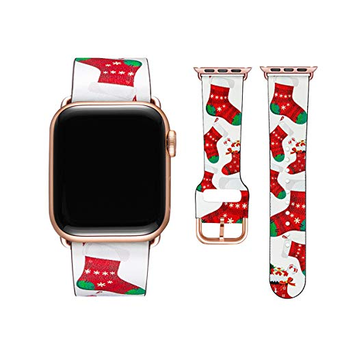 POWER PRIMACY Bands Compatible with Apple Watch Band 38mm 40mm 42mm 44mm, Top Grain Leather Smart Watch Strap Compatible for Men Women iWatch Series 6 5 4 3 2 1,SE(Christmas Sock/Rosegold,38mm/40mm)