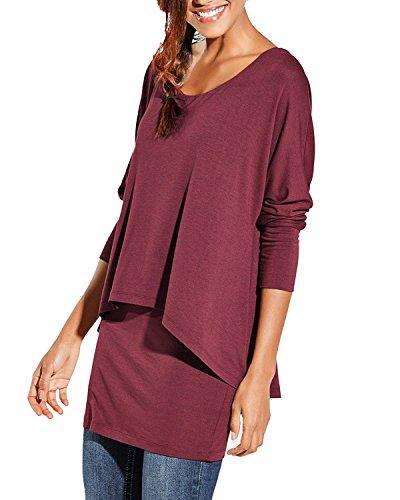 Uniquestyle Damen 2 in 1 Optik Langarmshirt Casual Tunkia Langarm Große Größen Longshirt Asymmetrisch Oberteil Top Shirt Winerot L