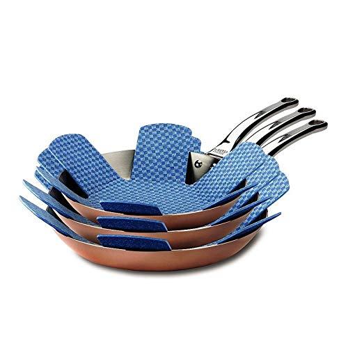 Hagen Grote Stapelschutz, 9 Stück, Ø 38 cm, Polyester-Viskose mit rutschfest gummierter Unterseite, schützt Pfannen und beschichtetes Kochgeschirr vor Kratzern