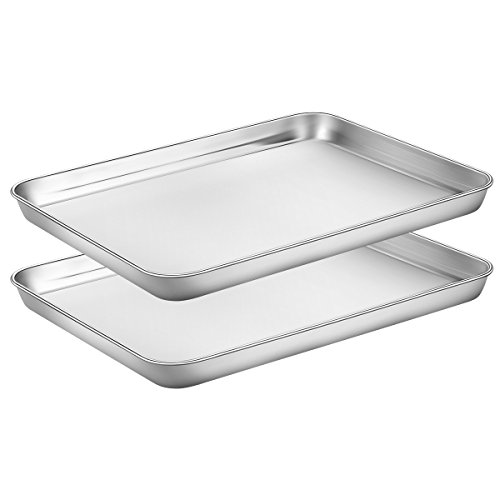 Baking Sheets Set of 2, HKJ Chef Cookie Sheets 2 Pieces & Stainless Steel Baking Pans & Toaster Oven Tray Pans, Rectangle Size 12.5Lx10Wx1H inch & Non Toxic & Healthy & Easy Clean