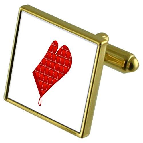 Select Gifts Kochen Ofen Handschuh Gold-Manschettenknöpfe Crystal Krawattenklammer Geschenkset