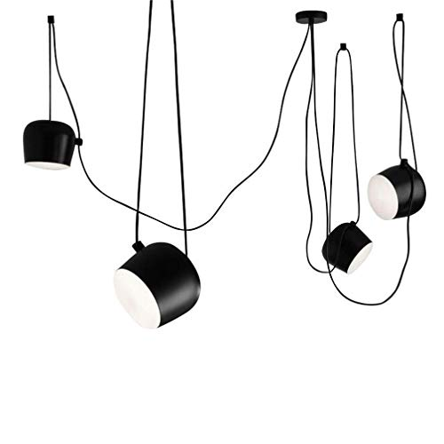 Xiao Fan ▶ Industrielle 3M Isolierte Draht 4 Köpfe Schwarz Eisen Pendelleuchte Modernes Restaurant Esszimmer Wohnzimmer Büro Bekleidungsgeschäft Bar Zylindrische Trommel E27 Kronleuchter ◀