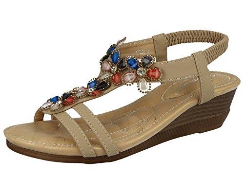 Ladies Cushion Walk T-Bar Jewel Multi Flower Sling Back Low Wedge Peep Toe Summer Sandals Size 3-8 (UK 7/ EU 40, Beige)