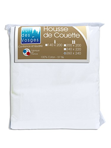 Nuit des Vosges 2094848 Cotoval Housse de Couette Uni Coton Blanc 240 x 260 cm