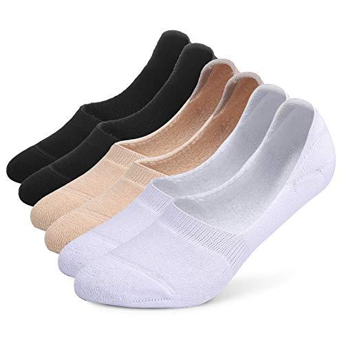 Leotruny 6 Pairs Unisex Thick Cushion Athletic Cotton Non Slip Low Cut Flat Liner No Show Socks (Medium, C04-Black/White/Beige)