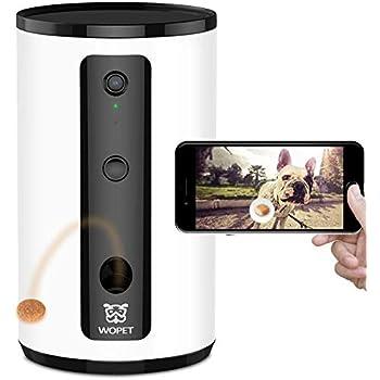 WOpet ペットカメラ 家カメラ ドッグカメラ 携帯で餌を飛び出す 双方向会話 暗視 ペットを見るための暗視機能付き フルHD WiFiペットカメラペット留守番 見守りカメラ 猫ちゃん中小大型犬 iOS Android対応(ホワイト)