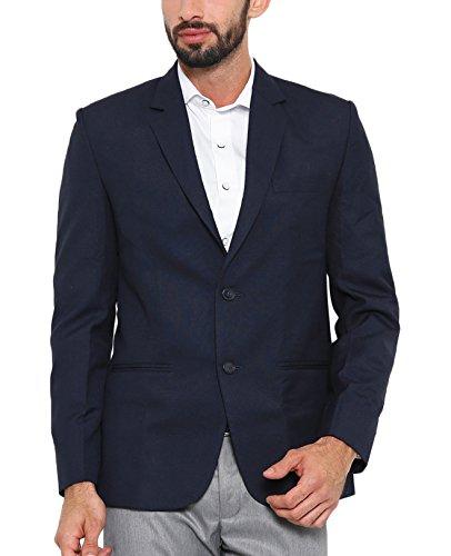 Shaftesbury London Mens Slim Fit Matte Formal Blazer Single Breast Jacket(Navy,42)