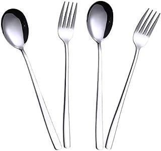 Choary stainless steel Tableware Fork&Spoon.Reusable Metal Stainless Steel Korean spoons&forks. (2 pair)