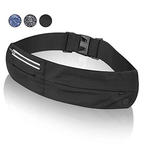 Fanny Packs for Women,Running Belt,Phone Holder for Running,Running Phone Holder,Slim Soft Polyester Water Resistant Waist Bag Pack for Man Women,Carrying Fits All Phones iPhone & Android (Black)