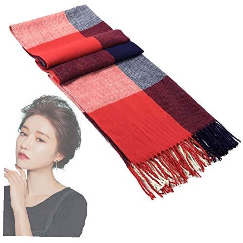 Mujeres suave bufanda de la manera caliente de las lanas del mantón del abrigo de invierno de la estola del tartán Check británica tela escocesa de la bufanda de la borla de la bufanda rojo / azul