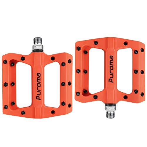 Puroma Mountain Bike Pedal Nylon Fiber Non-Slip 9/16 Inch Bicycle Platform Flat Pedals for Road Mountain BMX MTB Bike (Orange)