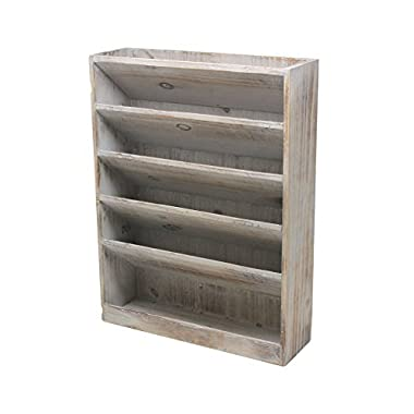 Vintage Rustic Wooden 5 Slot Office Desk or Wall Mounted Hanging File Document Organizer & Mail Rack Tray - Distressed Torched Wood Finish
