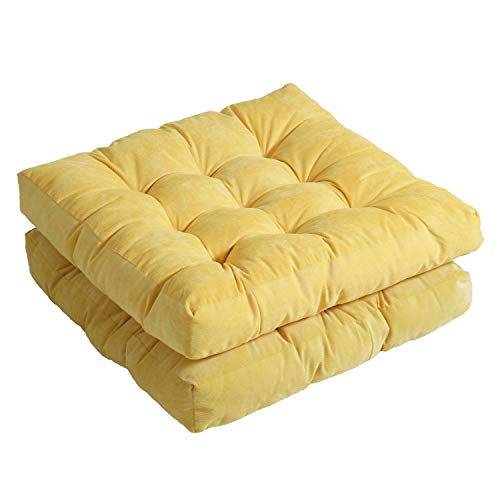 Patio Square Chair Cushions 22 x 22 Inch Outdoor Floor Pillows for Sitting Indoor Window Pad Set of 2 for Living Room Classroom Garden, Yellow