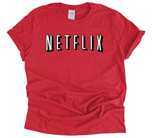 Funny Netflix Parody T Shirt Netflix and Chill Couples Costume Outfit (Red, Large)