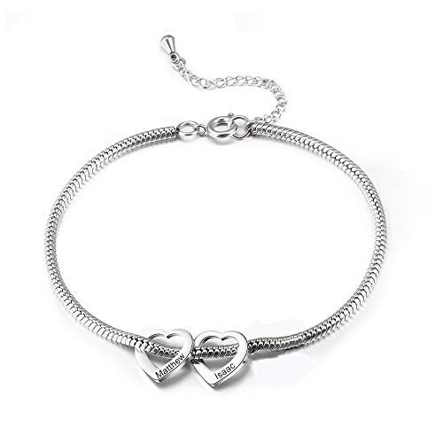 Gemszoo Personalised Ankle Bracelets for Women Teen Girls Silver 5 Love Heart Charm Engraved Custom Name Anklet Gift BFF Summer Beach Anklets 316L Stainless Steel Adjustable Chain 30 cm…