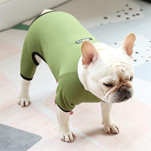 Hdwk&Hped Small Medium Dog Shirt Soft Cotton Pet Pajamas Jumpsuit Style for Fat Dog French Bulldog Corgi Olive #5