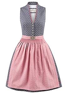 Stockerpoint Damen Dirndl Leticia Kleid für besondere Anlässe, blau-Altrosa, 40