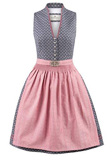 Stockerpoint Damen Dirndl Leticia Kleid für besondere Anlässe, blau-Altrosa, 38