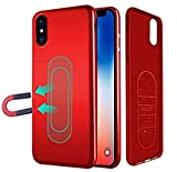 iPhone XR Case,Ultra Thin Magnetic Phone Case for Magnet Car Phone Holder with Invisible Built-in Metal Plate,Soft TPU Shockproof Anti-Scratch Protective Cover for iPhone XR(2018) 6.1''[Red]