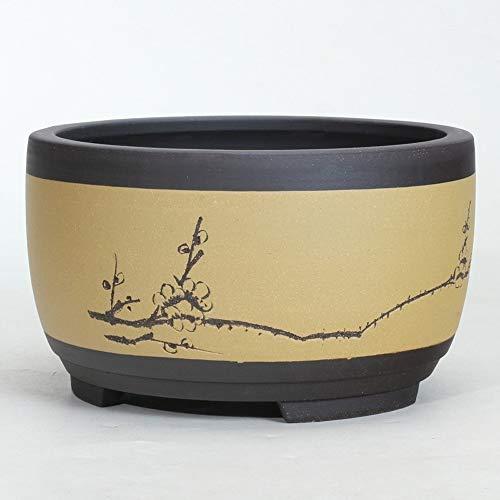 Thwarm Bonsai Tiesto de cerámica redondo Grande Mediana y Pequeña Bonsai Pot verde Tiesto tambor en forma de estilo chino Ventilación Cuenca Ronda maceta con la bandeja de goteo decorativo Planta de c