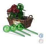 Relaxdays, Verde, Set Autorriego para Macetas, Plástico, 4 Unidades, 27 cm