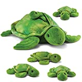 Prextex Plush Turtle with with 3 Little Plush Baby Turtles Zip in Plushlings Collection Stuffed Animals Playset