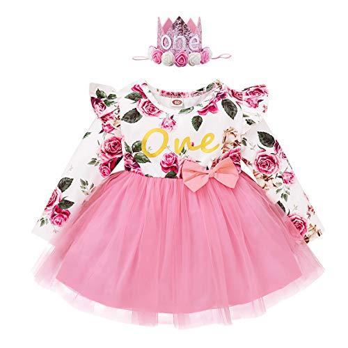 FYMNSI Vestido de manga larga para beb con estampado floral de algodn, tut, vestido de princesa, vestido de fiesta, otoo, para sesiones de fotos. Rosa con cinta para la cabeza. 12 Meses