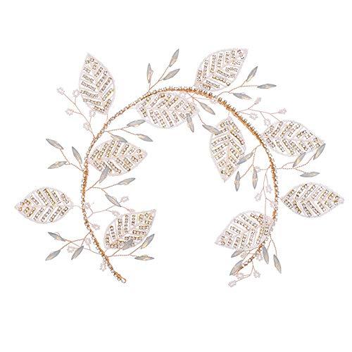 Sasecht Luxuxkristalldiamant-Blatt-Brauthaar-Zusätze Brautkleid Zubehör Gold- (Color : Gold)