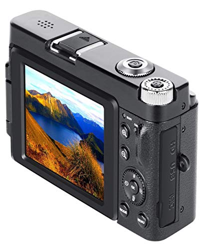 Vacally Digital Camera Camcorder Full HD WiFi 3.0Inch 180Degree Rotation Flip Screen for Vlogging, Built-in Wi-fi, Super Best Gifts for Outdoor Sports Lover