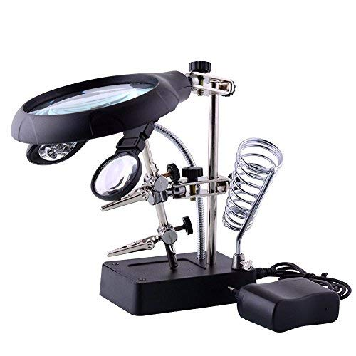 Amon Tech Desktop Magnifier with Light and Stand 2.5X 7.5X 10X LED Lamp Table Magnifying Glasses with Auxiliary Clamp and Alligator Clips Helping Hand Repair Station