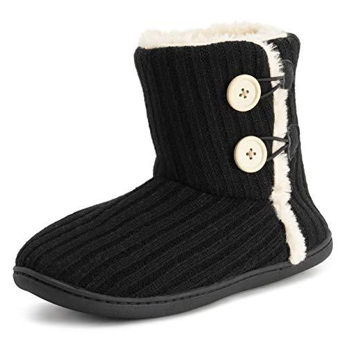 Polar Mujer Espuma De Memoria De Punto Botón Piel Sintética Al Aire Libre Suela De Goma Felpa Invierno Comodidad Zapatillas - Negro - UK6/EU39 - YC0716