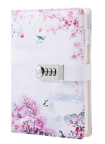 Tagebuch mit Schloss für Mädchen Journal für Passwörter PU Lederbuch Tagebuch Notizbuch Größe A5,210x150mm