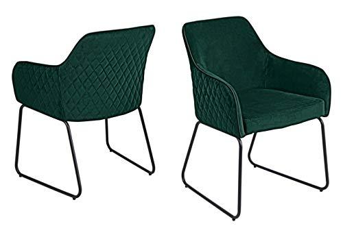 Set one by Musterring Stuhl Hampton 2 STK, ESS-Zimmerstuhl aus samt und gepolstert mit Armlehnen, anthrazit